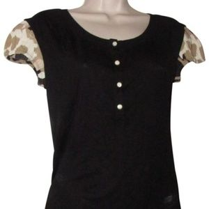 Moschino Black Cap Floral Sleeve Pearl Buttons